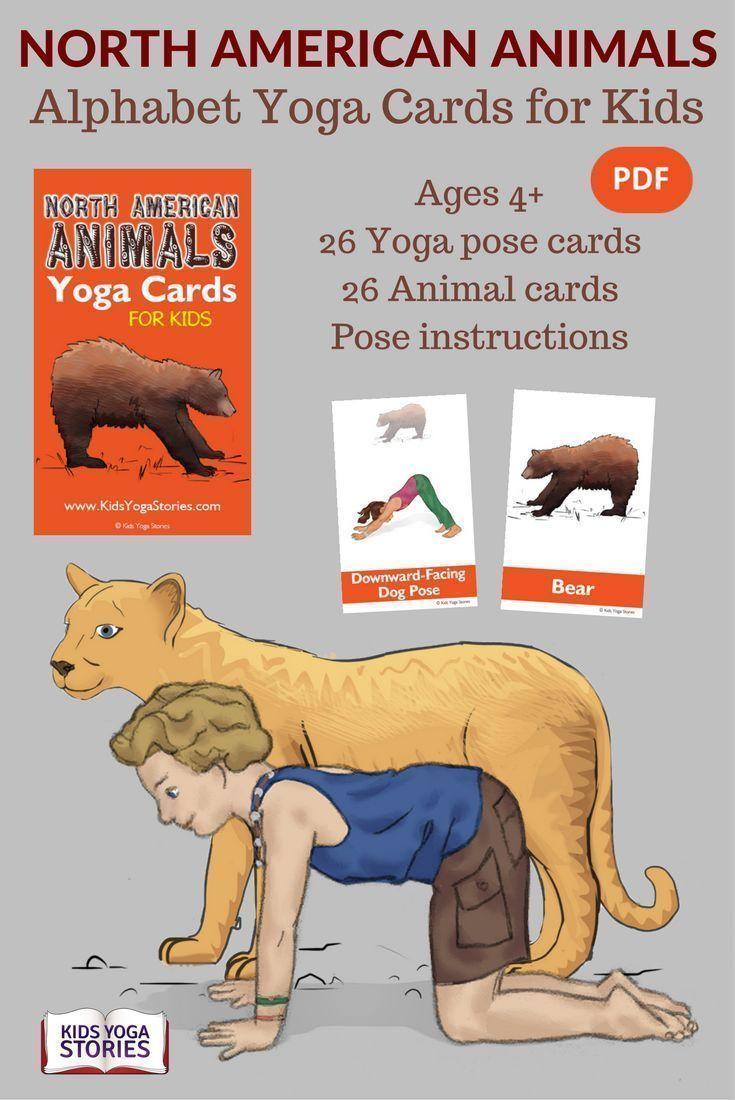 North American Animals Alphabet Yoga Cards for Kids