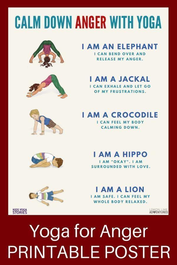 Yoga for Anger: Calm Anger with 5 Kids Yoga Poses (Printable Poster)