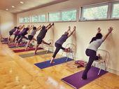 "Melissa Lorraine Hagen on Instagram: """"Forward bends"" means leg stretching! Here we're using a #yogachair in #parsvottanasana . . #iyengaryoga #yogaprops #propyourpose #yoga…"""