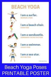 Beach Yoga Poses for Kids (Printable Poster) - Kids Yoga Stories   Yoga stories for kids