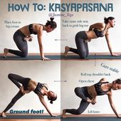 "Yoga Tutorials's Instagram post: ""@jasmine_yoga on How We Cheat when We Have Short Arms 👊 ・・・ #JasmineYogaTutorial : #Kasyapasana  My 'cheat cheat' way of getting into this…"""