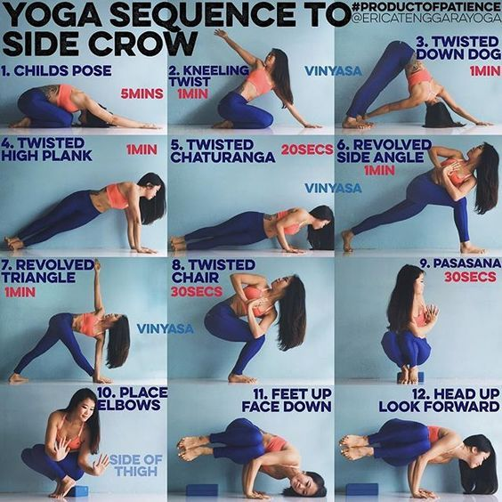 """Erica Tenggara on Instagram: """"YOGA SEQUENCE TO SIDE CROW: This pose requires lots of twisting so best to do this BEFORE you eat. (Should try not to eat 2 hours before…"""""""