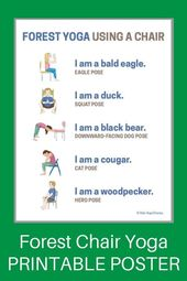 5 Woodland Forest Animals Yoga Poses Using a Chair (Printable Poster) - Kids Yoga Stories   Yoga sto