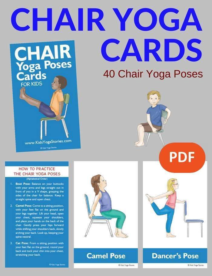 Chair Yoga Poses for Kids Cards