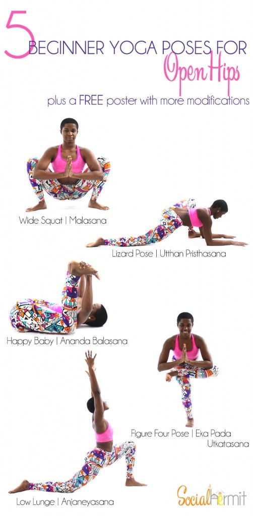 5 Beginner Yoga Poses for Open Hips (and a FREE poster). - Social Hermit
