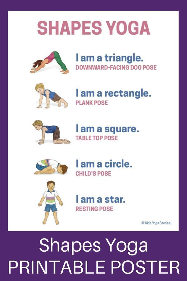 Shapes Yoga: How to Teach Shapes through Movement (Printable Poster) - Kids Yoga Stories | Yoga stor